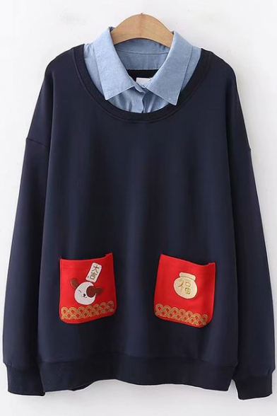 Funny Cartoon Print Pocket Patched Front Lapel Collar Long Sleeve Pullover Loose Sweatshirt