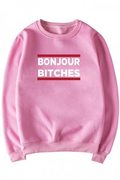 Funny Letter BONJOUR BITCHES Print Crew Neck Long Sleeve Men's Pullover Sweatshirt
