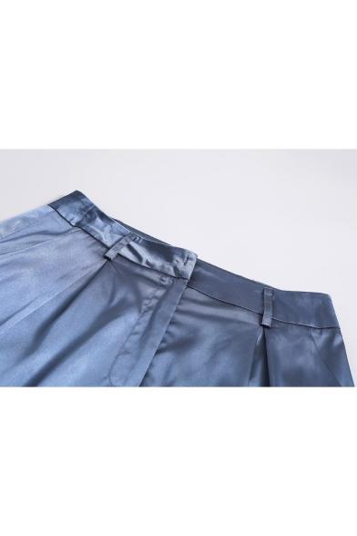 Ladies Elegant High Rise Flap Pocket Side Split Cuff Loose Fitted Plain Blue Pants