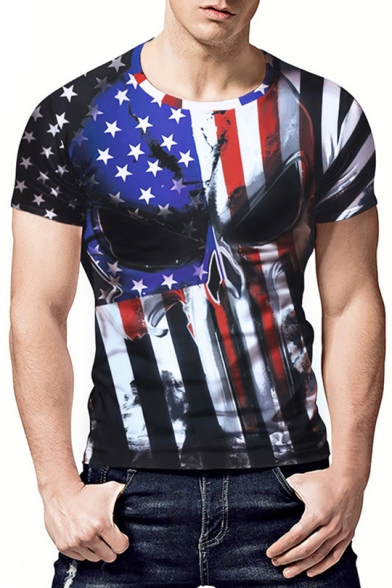 8802db9ca2 Men's Cool Skull American Flag Printed Round Neck Short Sleeve Slim Fit  Black T-Shirt ...