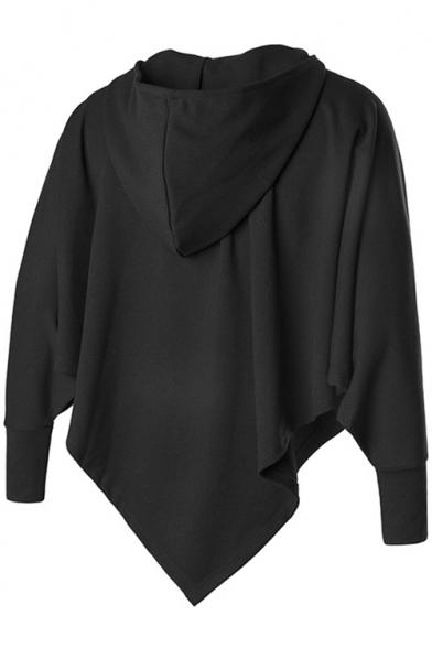 Men Street Style Unique Solid Black Batwing Sleeve Half-Zip Boxy Cape Hoodie