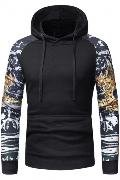 New Arrival 3D Print Long Sleeve Slim Fitted Pullover Hoodie for Men