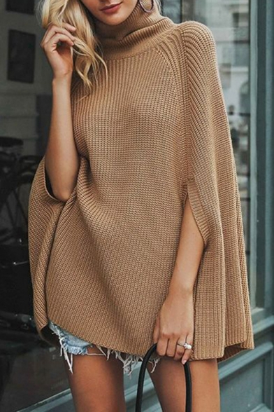 Warm Long Sleeve High Neck Plain Knit Tunics Warm Plush Cape Sweater