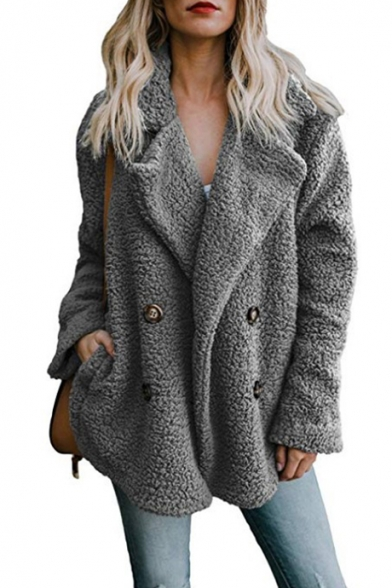 Winter's Warm Fluffy Fleece Notched Lapel Collar Double-Breasted Solid Coat