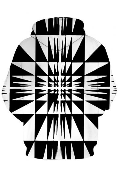 3D Digital Geometric Printed Long Sleeve Colorblock Black Hoodie