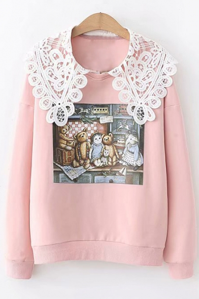 Chic Lace-Panelled Round Neck Long Sleeve Cute Cartoon Teddy Bear Print Casual Sweatshirt