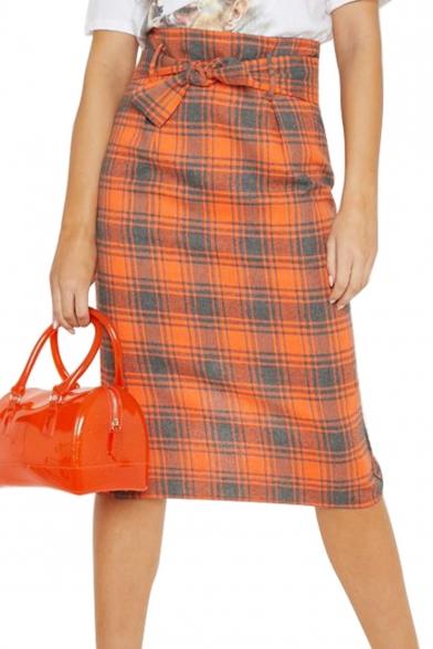 Classic Orange Plaid Printed Bow-Tied Waist Split Back Midi Shift Skirt for Women
