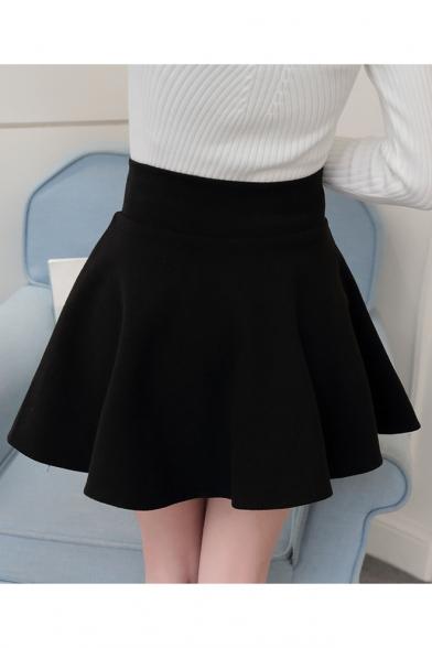 Girls Black High-Rise Simple Plain Mini A-Line Pleated Skirt