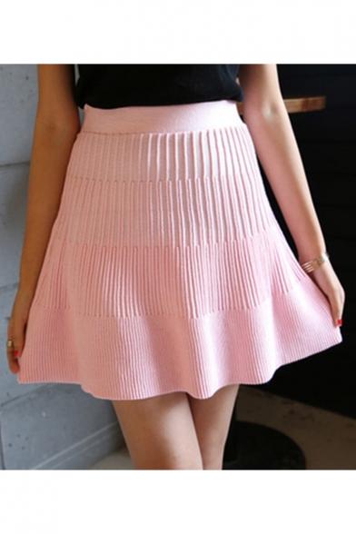 Girls Elastic High Waist Simple Plain Pink Mini A-Line Knit Pleated Skirt