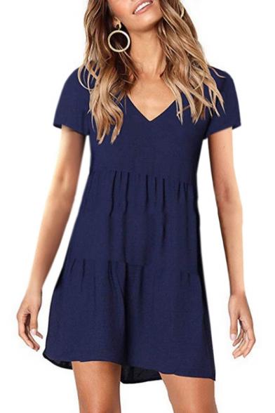Hot Popular V-Neck Short Sleeve Simple Plain Mini A-Line Pleated Dress