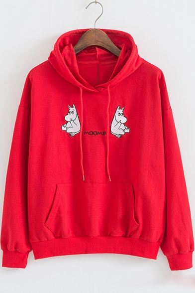 Loose Lovely Hippo Letter MOOMIN Embroidered Long Sleeve Leisure Big Hoodie