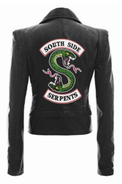 New Stylish Letter SOUTH SIDE Snake Logo Print Back Long Sleeve Lapel Collar Zip Up Biker Jacket