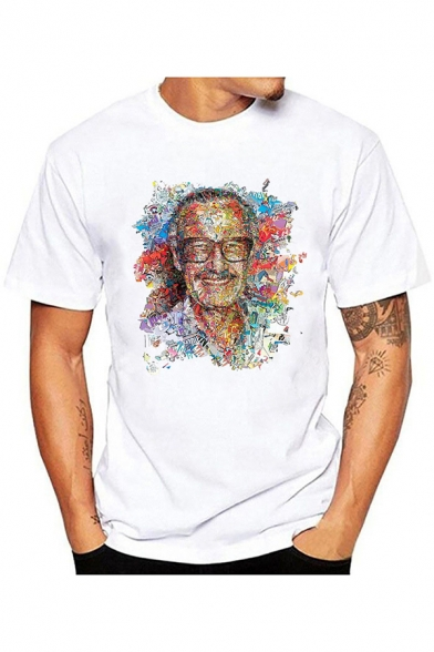 Popular Figure American Comic Book Writer Colorful Painting Basic White Short Sleeve T-Shirt for Men