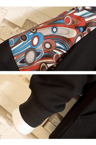 Retro Pattern Long Sleeve Kangaroo Pocket Front Black Casual Loose Hoodie for Guys