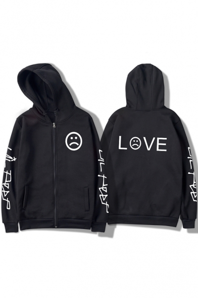 Street Style American Rapper Letter LOVE Sad Face Print Casual Zip Up Hoodie for Guys