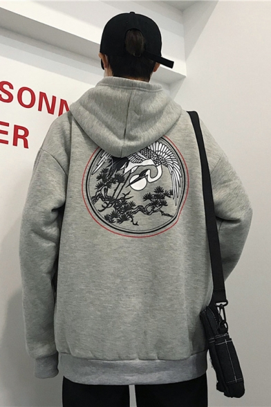 Stylish Chinese Style Crane Printed Loose Casual Oversized Zip Up Hoodie