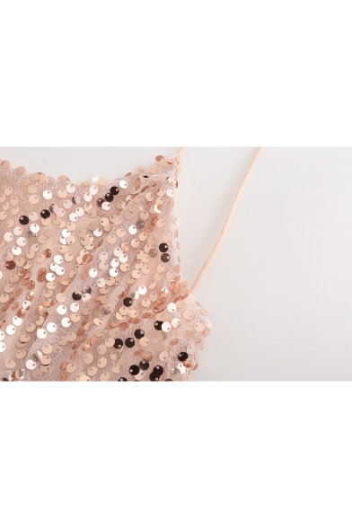 Trendy Pink Chic Ruffle Hem Sexy Open Back Mini A-Line Sequined Slip Dress for Party
