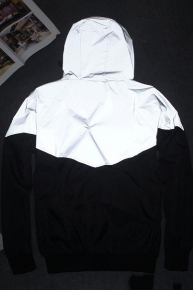 Colorblock Long Sleeve Zip Gray Reflective Hooded Coat