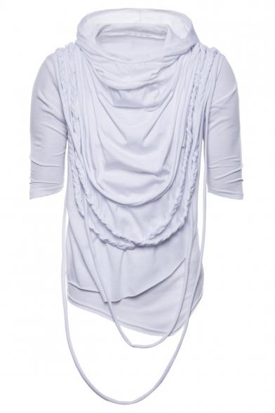 Men's Chic Braid Rope Decoration Heap Collar Hooded Half-Sleeved Plain Baggy T-Shirt