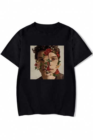 Popular Canadian Singer-Songwriter Floral Figure Printed Round Neck Short Sleeve Casual Unisex T-Shirt