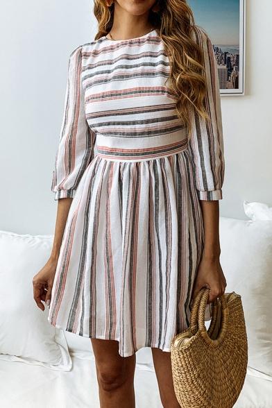 Round Neck Three-Quarter Sleeeve Trendy Striped Printed Mini A-Line Dress