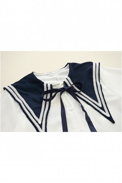 Sweet Cute Long Sleeve Navy Collar Colorblock Bow Tie Front Chiffon Button Down Shirt