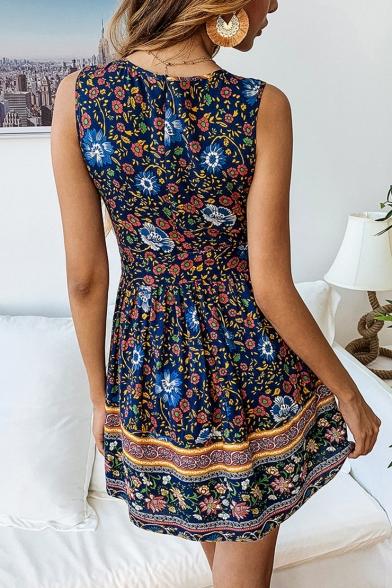 Trendy Round Neck Sleeveless Tribal Floral Printed Mini A-Line Dress