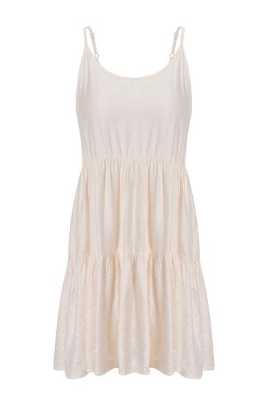 Women's Spaghetti Straps Bow-Tied Back Simple Plain Mini Swing Slip Dress