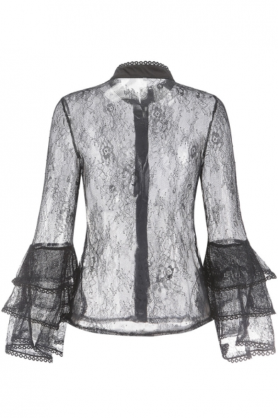 Women's Stand Collar Layered Flared Sleeve Button Front Sexy Black Sheer Lace Shirt