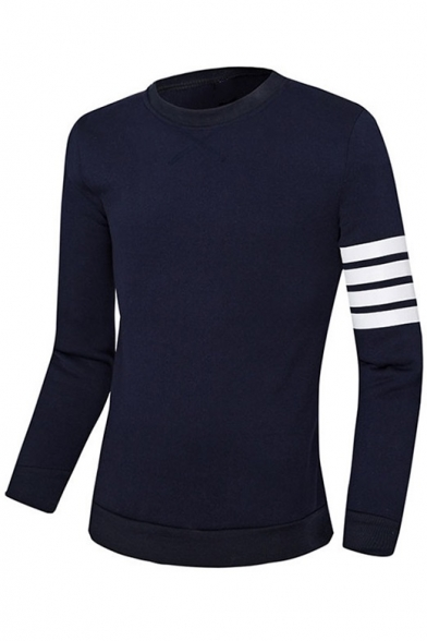 Classic Striped Print Long Sleeve Crew Neck Regular Fitted Pullover Sweatshirt