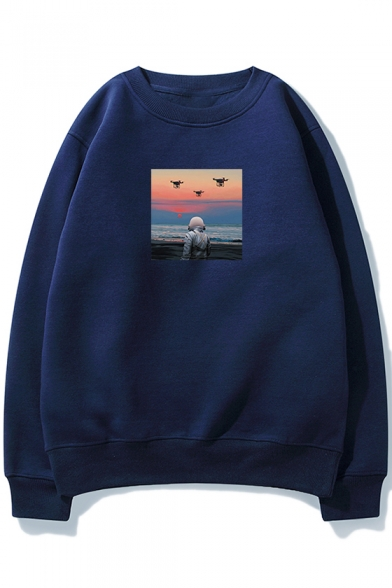 Cloud Astronaut Pattern Basic Crewneck Long Sleeve Relaxed Loose Sweatshirt