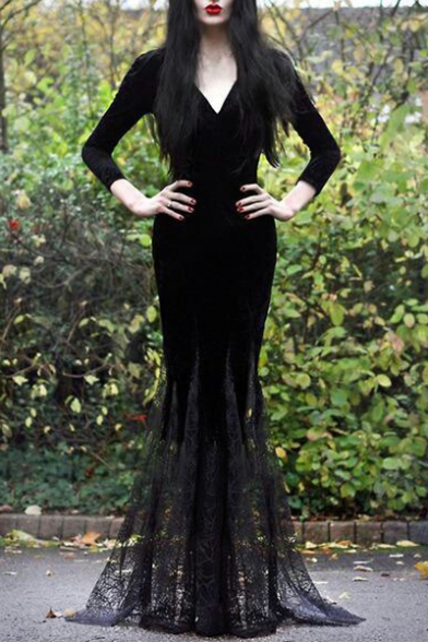 Fashion Black V-Neck Long Sleeve Lace-Panelled Hem Fishtail Floor Length Bodycon Evening Dress