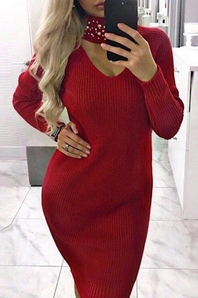 Sexy Long Sleeve V Neck Plain Knit Bodycon Mini Dress