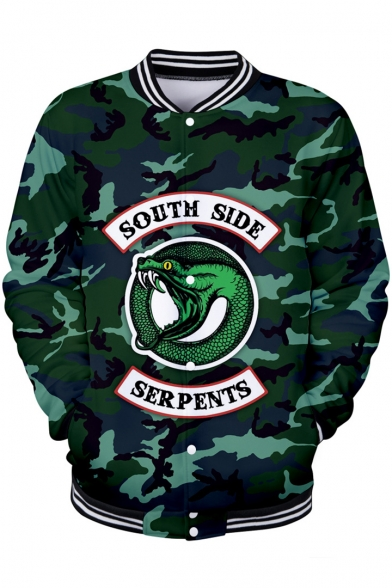 Trendy Letter SOUTH SIDE Snake Camouflage Print Stand Collar Button Down Green Baseball Jacket