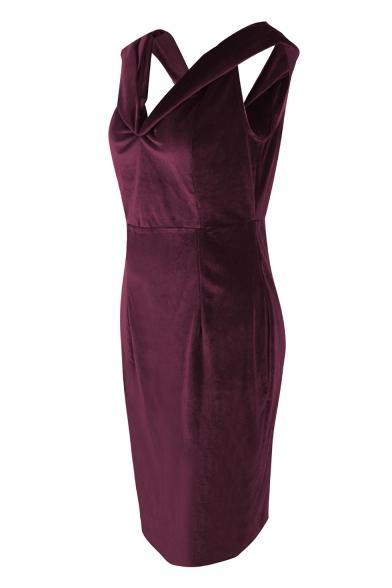 Women's Chic Off The Shoulder Basic Plain Midi Bodycon Velvet Dress for Party
