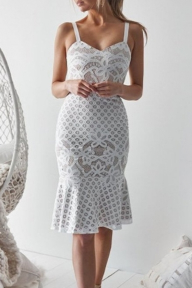 Women's Fashion Ruffled Hem Midi Bodycon Lace Cami Dress