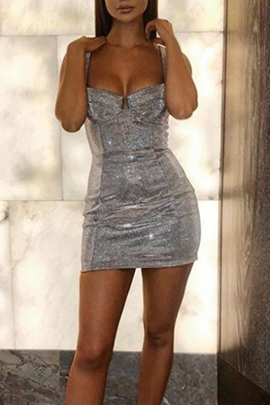 Women's Sexy Silver Plain Sequined Mini Bandage Dress for Party