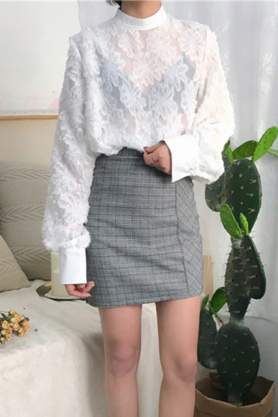 Women's Vintage Stand Collar Long Sleeve Chic Fur-Trimmed Loose Casual Blouse