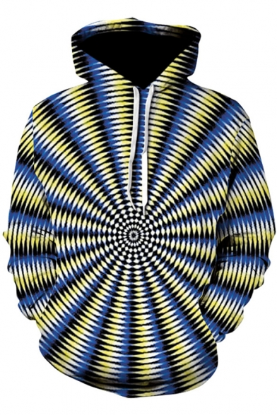 3D Whirlpool Printed Colorblock Leisure Yellow Hoodie LC498649 фото