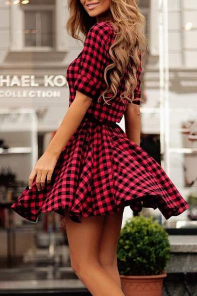 Button Embellished Half Sleeve Lapel Collar Classic Plaid Printed A-Line Dress