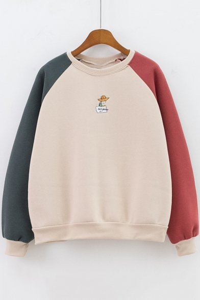 Cute Cartoon Embroidered Colorblock Long Sleeve Round Neck Pullover Sweatshirt for Girls