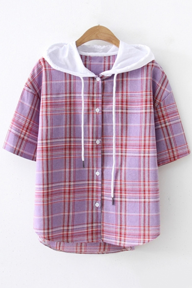 Fashion Plaid Printed Short Sleeve Drawstring Hooded Button Front Shirt