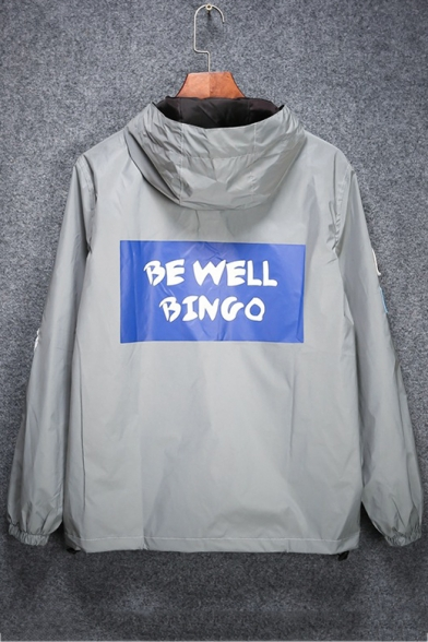 Gray Letter BE WELL BINGO Printed Long Sleeve Zip Closure Reflective Hooded Trench Coat for Couple