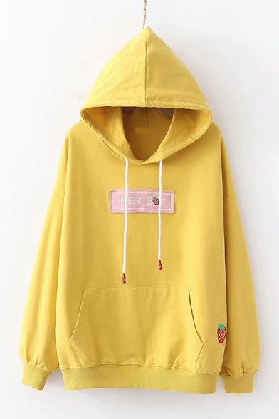Letter HEY BOY Cherry Embroidered Applique Loose Fit Long Sleeve Drawstring Hoodie