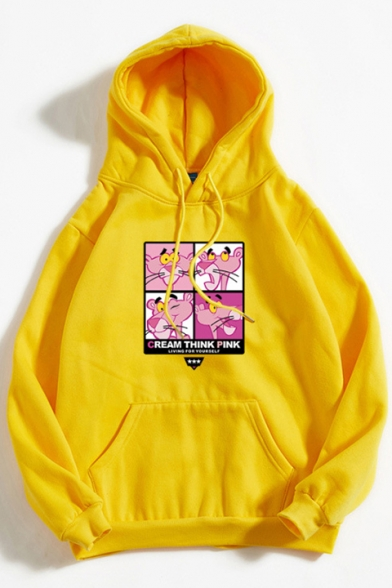 Lovely Cartoon Pink Panther Printed Long Sleeve Loose Fitted Hoodie