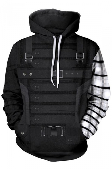 Men's 3D Cosplay Buckle Pattern Black Long Sleeve Drawstring Pullover Hoodie
