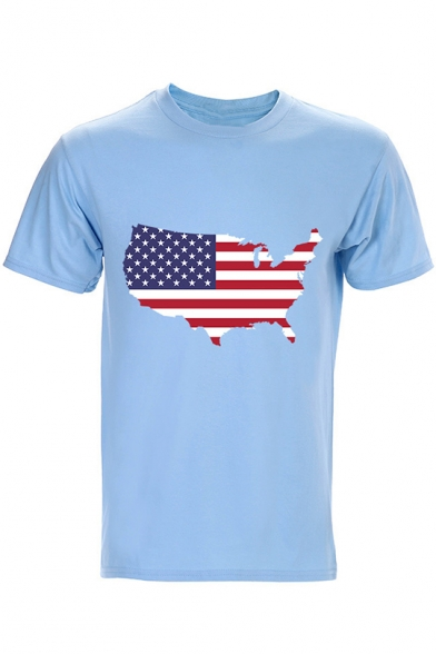 New Stylish Cool Shaped American Flag Print Crewneck Short Sleeve Cotton Fitted T-Shirt