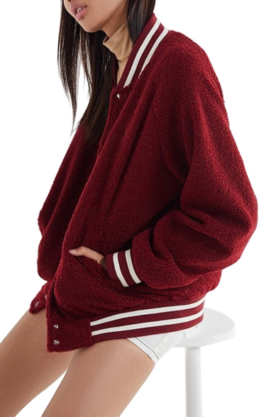 New Trendy Red Rib Trim Long Sleeve Stand Collar Button Down Loose Casual Baseball Jacket