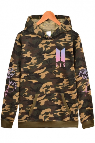 Popular Boy Band Logo Chest Classic Camo Printed Loose Fitted Green Hoodie