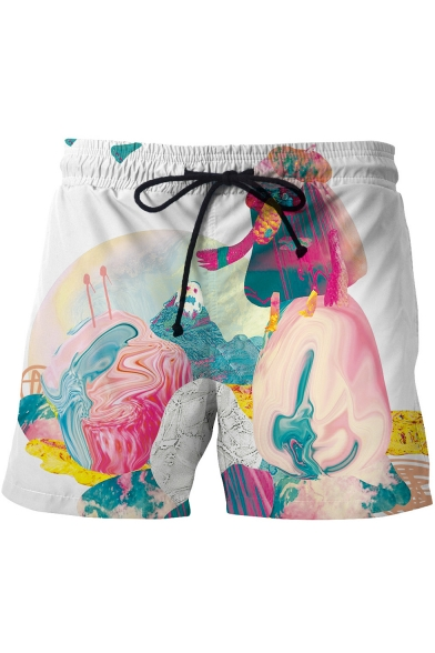 Stylish 3D Abstract Pattern Drawstring Waist Men's White Summer Beach Swim Shorts